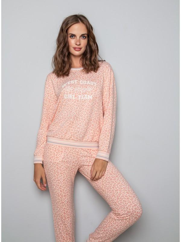 Женская пижама INDEFINI «Feline pink» 1145TCC