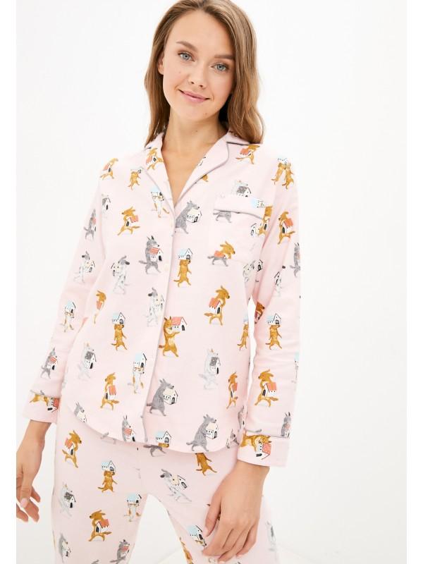 INDEFINI Уютная женская пижама с брюками и рубашкой на пуговицах TCC1138