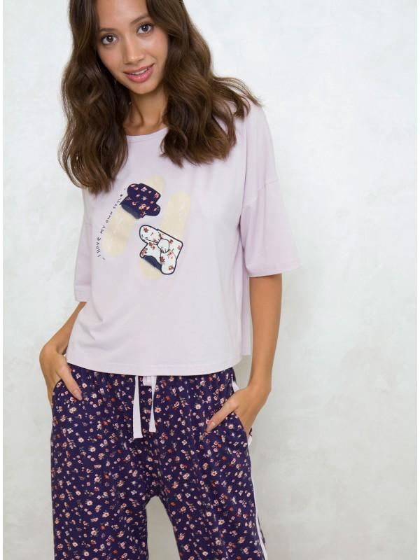 INDEFINI Свободный домашний женский пижамный комплект TBC1163
